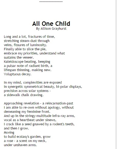 Writing Raw All One Child 1