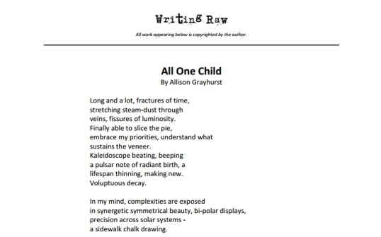 Writing Raw All One Child 3