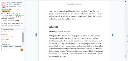 Baby names book Allison 2