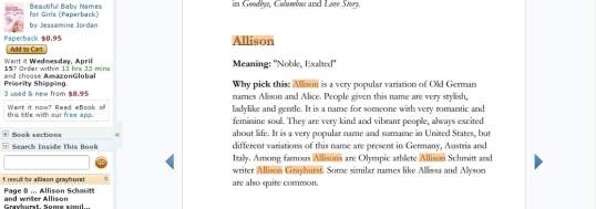 Baby names book Allison