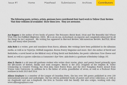 Yellow Chair Review Contributors 2