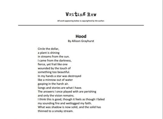 Writing Raw Hood