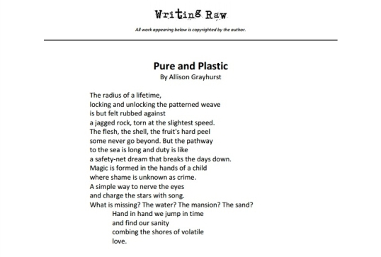 Writing Raw Pure and Plastic