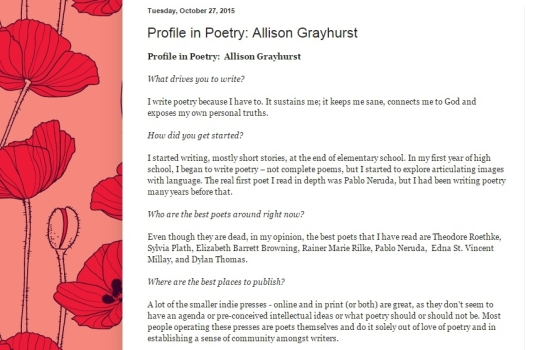 Profiles in Poetry interview 2